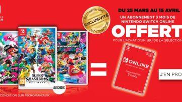 [Bon plan] 3 mois d'abonnement Nintendo Switch Online pour l'achat d'un jeu chez Micromania