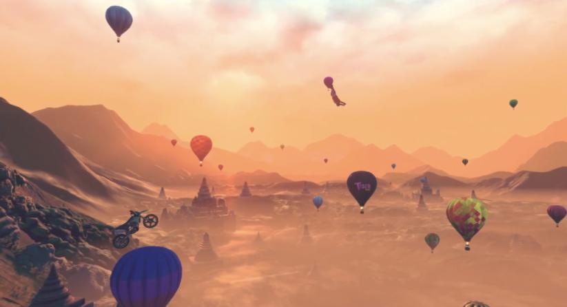 Jeu Trials Rising sur Nintendo Switch : figures au milieu de montgolfières