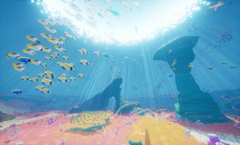 Jeu Abzû sur Nintendo Switch : au milieu d'un banc de poissons