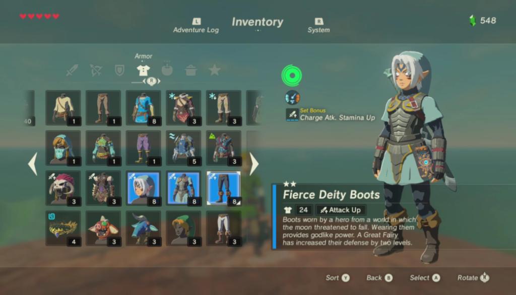 Grâce à un hack Amiibo, il débloque une tenue encore inédite de Majora's mask, Fierce Deity, dans Zelda Breath of the Wild