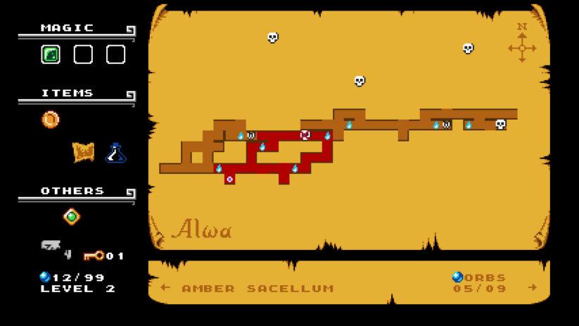 Jeu Alwa's Awakening sur Nintendo Switch : la carte est très simpliste