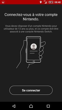 App Nintendo Switch Online : écran de connexion
