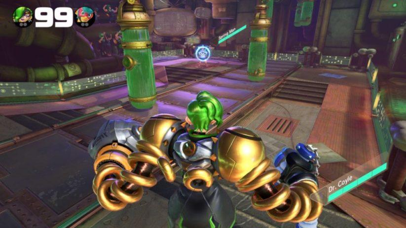 Personnage Dr Coyle ajouté dans la version 5 du jeu Arms : tapis roulant