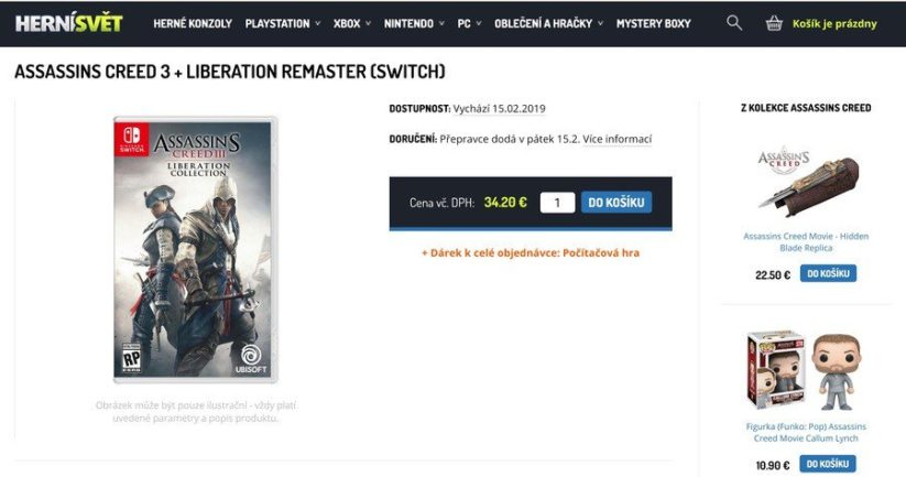 Jeu Assassin's Creed III Liberation Collection sur Nintendo Switch : listing Tchèque