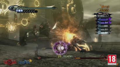 Screenshot de Bayonetta 2 sur Nintendo Switch : attaque