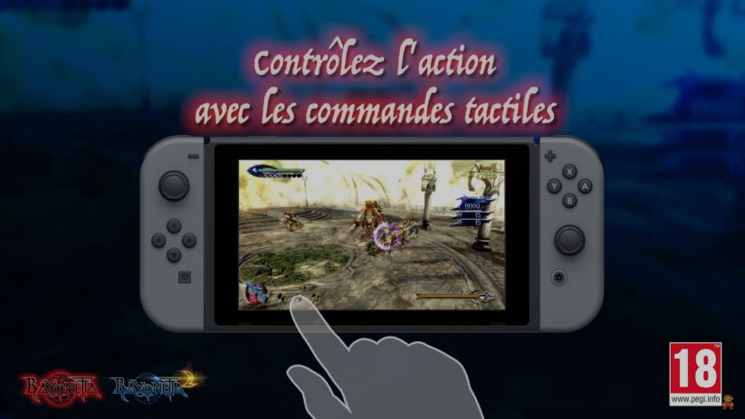 Screenshot de Bayonetta 2 sur Nintendo Switch : commandes tactiles