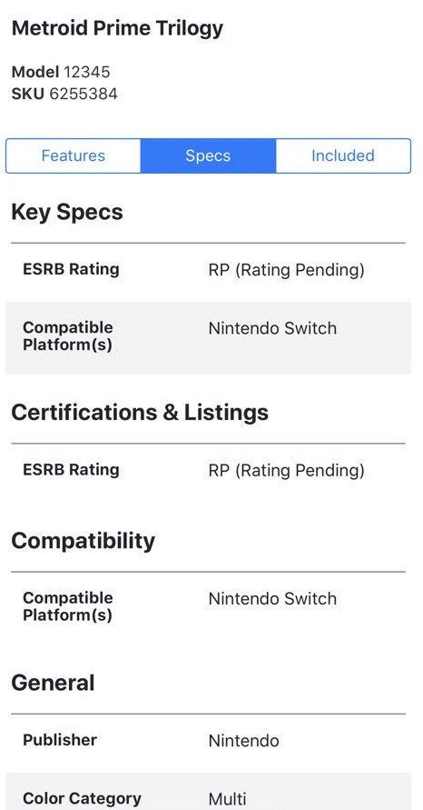 Best Buy dévoile l'arrivée de Metroid Prime Trilogy sur Nintendo Switch