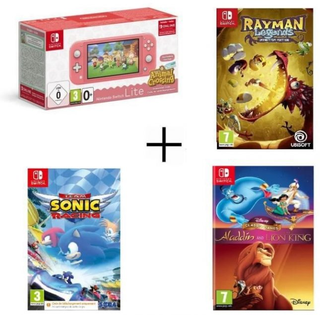 Nintendo Switch Lite Corail Animal Crossing + Team Sonic Racing + Aladdin & Le Roi Lion + Rayman Legends