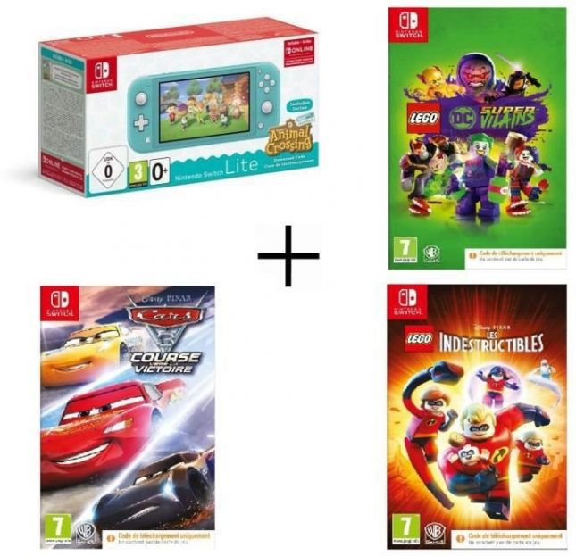 Nintendo Switch Lite Turquoise Animal Crossing + Cars 3 + Lego DC Super-Vilains + Indestructibles