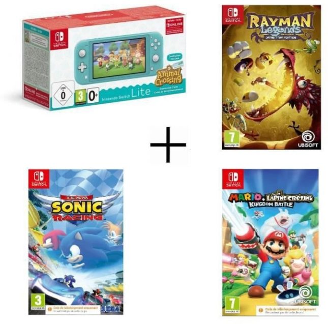 Nintendo Switch Lite Turquoise Animal Crossing + Team Sonic Racing + Rayman Legends + Mario Lapins Crétins Kingdom Battle