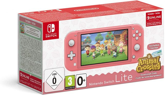 Nintendo Switch Lite Corail Animal Crossing New Horizon + 3 mois d'abonnement Nintendo Switch Online
