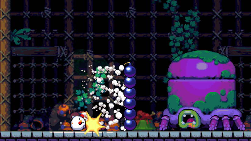 Jeu Bomb Chicken sur Nintendo Switch : tour de bombe face au boss