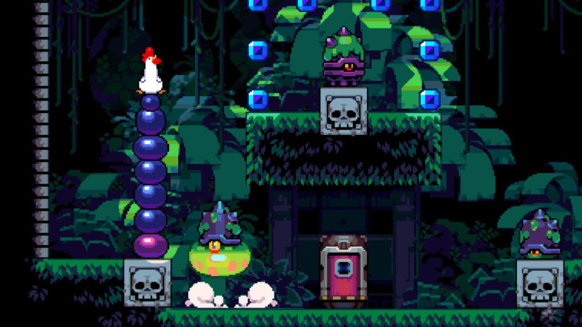 Jeu Bomb Chicken sur Nintendo Switch : on peut empiler les bombes