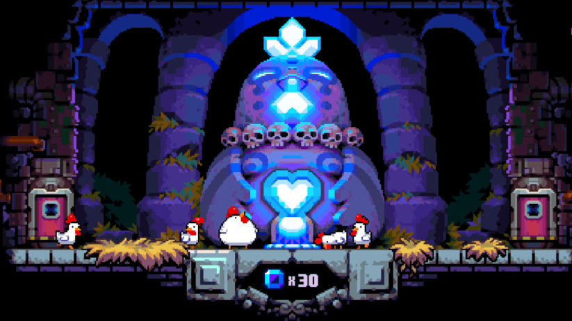 Jeu Bomb Chicken sur Nintendo Switch : offrande de gemmes bleues
