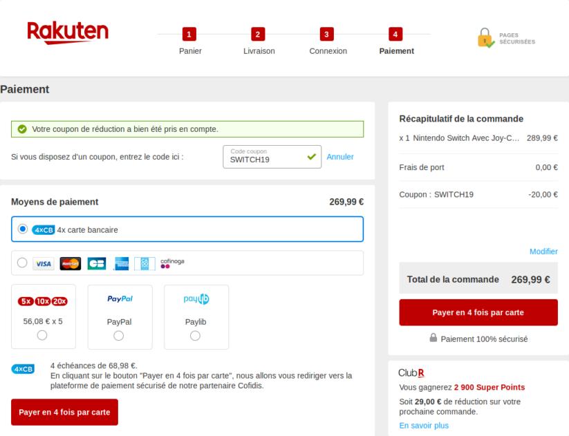 Rakuten (ex PriceMinister) propose la console Nintendo Switch néon à 269€99