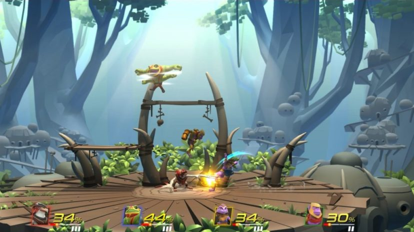 Screenshot de Brawlout sur Nintendo Switch : 4 joueurs