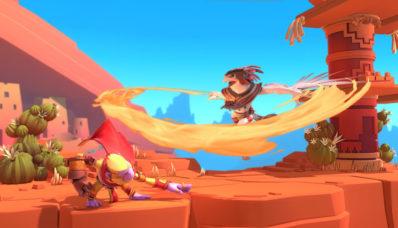 Screenshot de Brawlout sur Nintendo Switch : désert