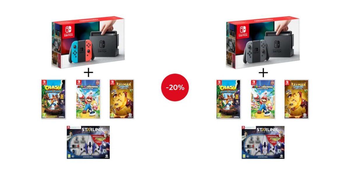 [Bon plan] Bundle Nintendo Switch avec 4 jeux à 359€99 au lieu de 449€95