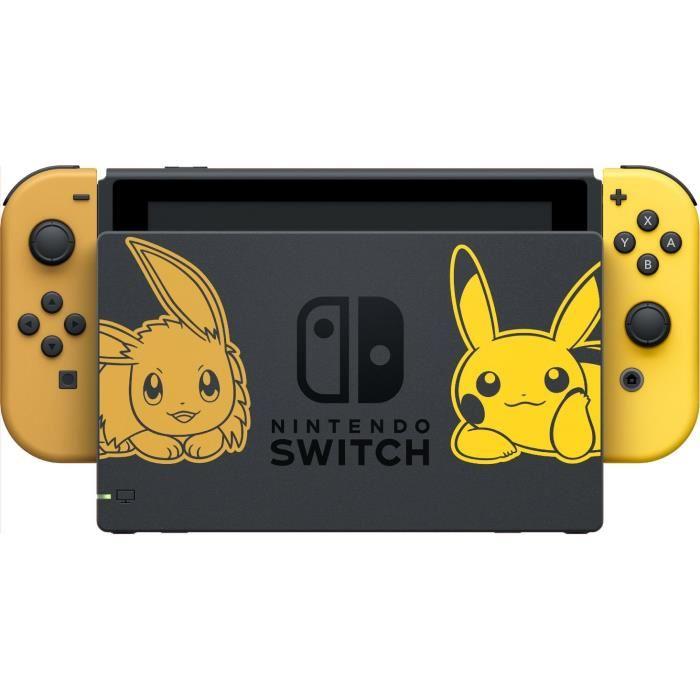 Console Nintendo Switch édition limitée Pokémon Let's Go : vue de la console dans le dock