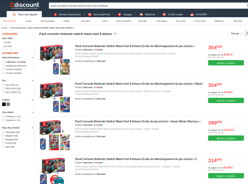 Bundles Cdiscount incluant le pack Nintendo Switch néon version Mario Kart 8 Deluxe