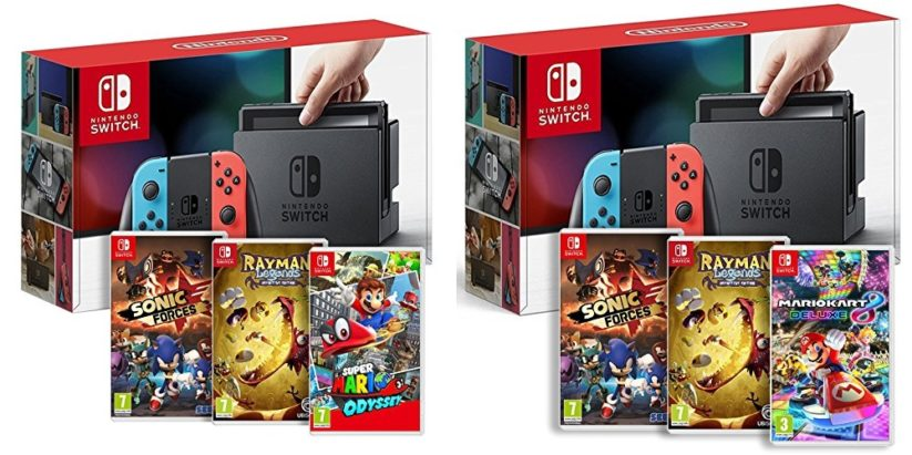 Bundles Amazon Console Nintendo Switch + jeux Sonic Forces, Rayman Legends, Super Mario Odyssey, Mario Kart 8 Deluxe