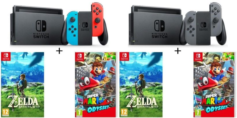 Bundles CDiscount Console Nintendo Switch grise et néon + jeux Zelda Breath of the Wild et Super Mario Odyssey