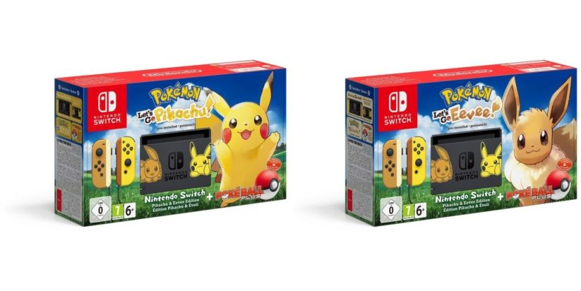 Deux bundles Nintendo Switch Pokémon Let's Go Pikachu ou Evoli