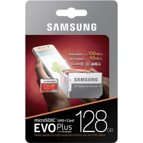 Samsung MB-MC128GA/EU MicroSD Evo Plus 128G + adaptateur SD en couloris rouge/blanc