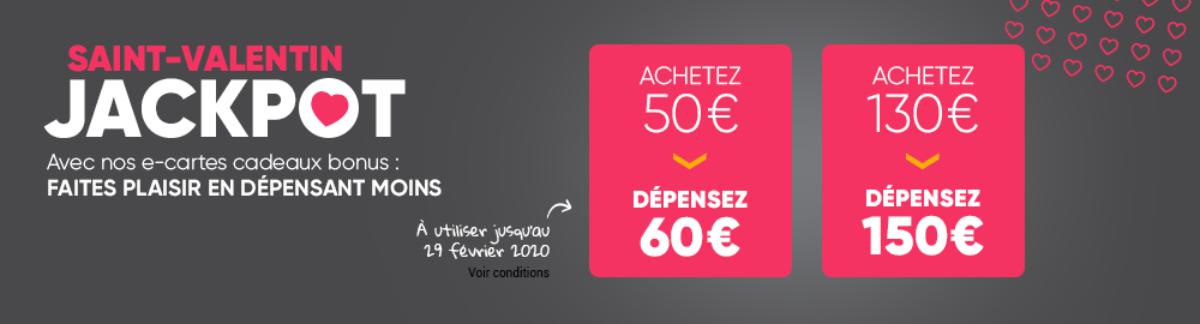 [Bon plan] Cartes Jackpot Fnac bonifiées 60€ et 150€ pour la Saint-Valentin