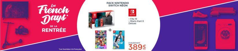 Pack Nintendo Switch néon avec Fifa 19 et Mario Kart 8 Deluxe à 389€99 chez Cdiscount