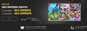 10 à 20€ de chèque cadeau Fnac pour l'achat de 2 ou 3 jeux Switch