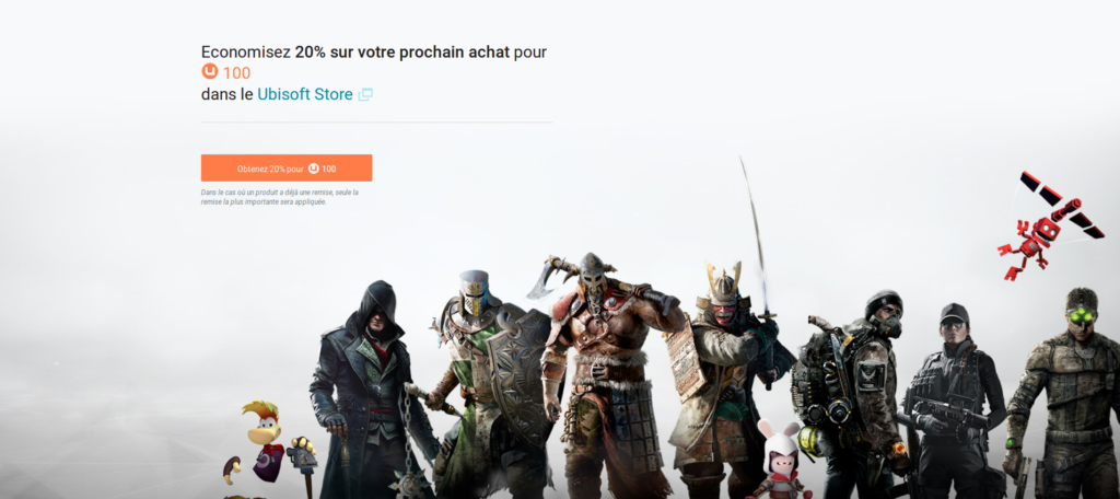 Shop Ubisoft : -20% avec 100 Club Units