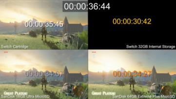 Comparaison du temps de chargement cartouche, mémoire interne et cartes SD sur Nintendo Switch