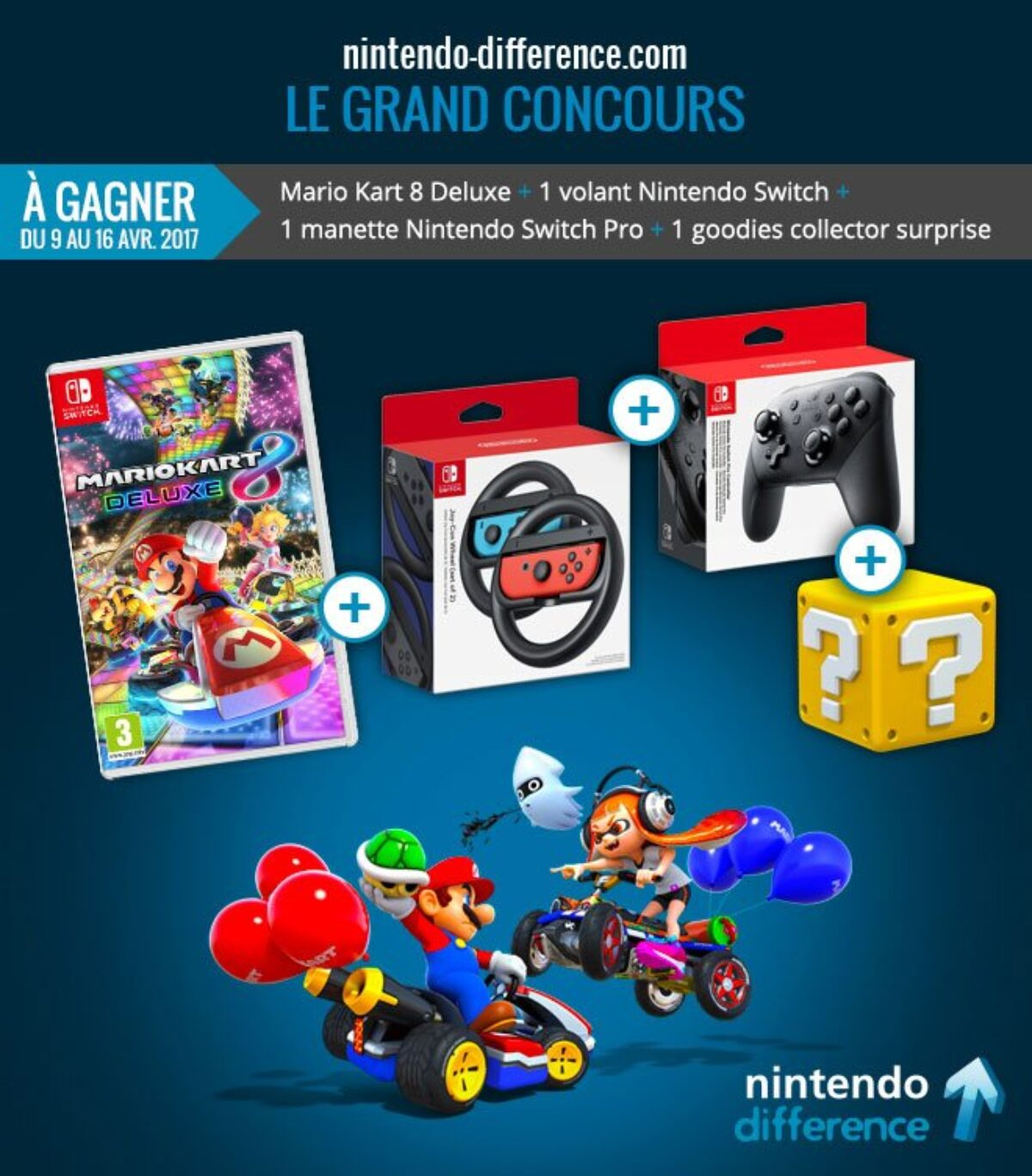 Concours : gagnez la combo Mario Kart 8 Deluxe + 2 volants + manette Switch Pro + 1 goodies collector
