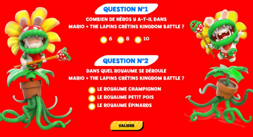 Concours Fnac Mario + The Lapins Crétins Kingdom Battle : questions