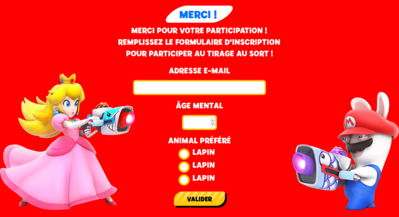Concours Fnac Mario + The Lapins Crétins Kingdom Battle : validation de la participation