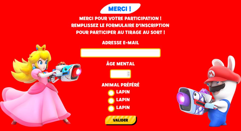 Concours Fnac Mario + The Lapins Crétins Kingdom Battle : validation de la participation