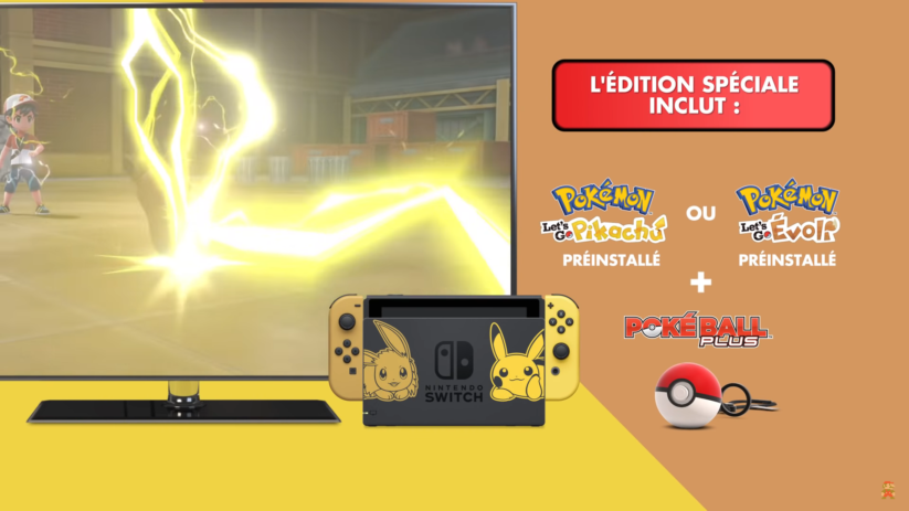 Bundles Nintendo Switch Pokémon Let's Go Pikachu & Evoli avec Pokéball Plus et jeu préinstallé