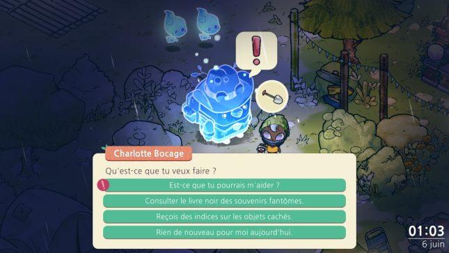 Jeu Cozy Grove sur Nintendo Switch - aidez les personnages à faire la paix
