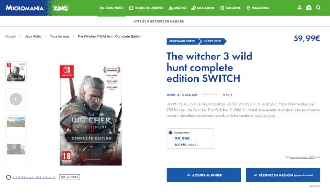 Fuite : The Witcher 3 Complete edition prévu pour le 15 octobre ?