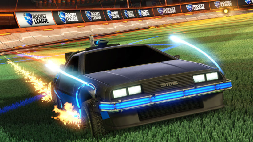 La Delorean de Retour vers le futur dans Rocket League Switch