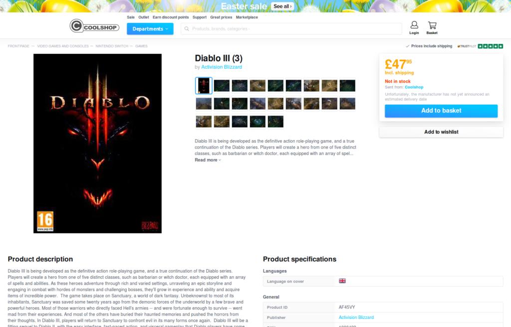 Diablo III sur Nintendo Switch listé chez Coolshop : page produit 1/2