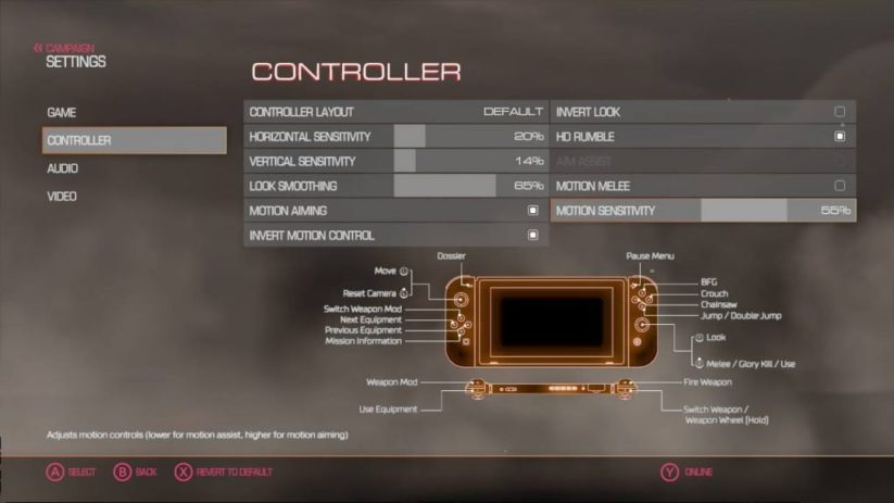 Jeu Doom sur Nintendo Switch : menu options gyroscope de la version 1.1.1