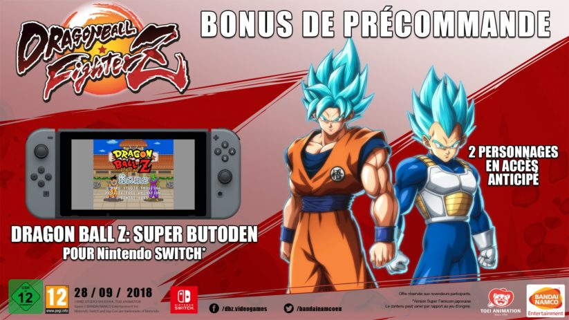 Dragon Ball FighterZ : Dragon Ball Z: Super Butoden et Goku et Vegeta en mode Super Saiyan God en bonus de précommande