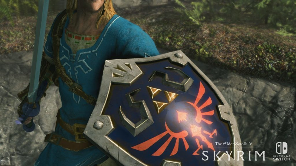 The Elder Scrolls V Skyrim sur Switch : bouclier Hylien Zelda