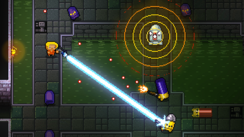 Jeu Enter The Gungeon sur Nintendo Switch : Attaque laser !