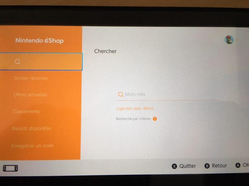 Image présentant la recherche de démos sur l'eShop de la Nintendo Switch