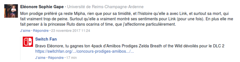 Gagnante du concours pack Amiibos des Prodiges Zelda Breath of the Wild