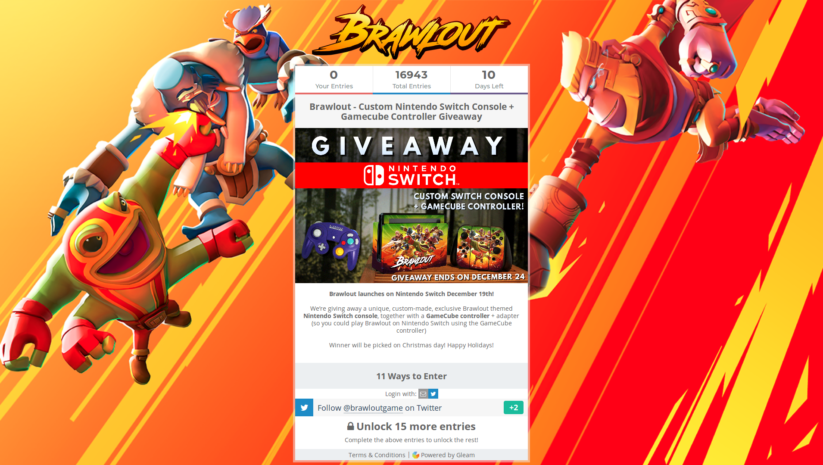 Giveaway Brawlout : une console Nintendo Switch personnalisée Angry Mob Games à gagner
