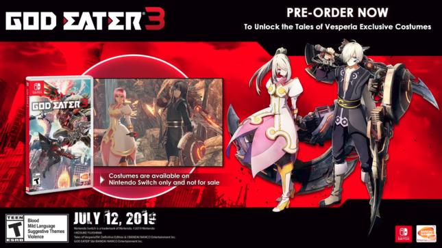 Bonus de précommande dans God Eater 3 sur Nintendo Switch : skins Tales of Vesperia